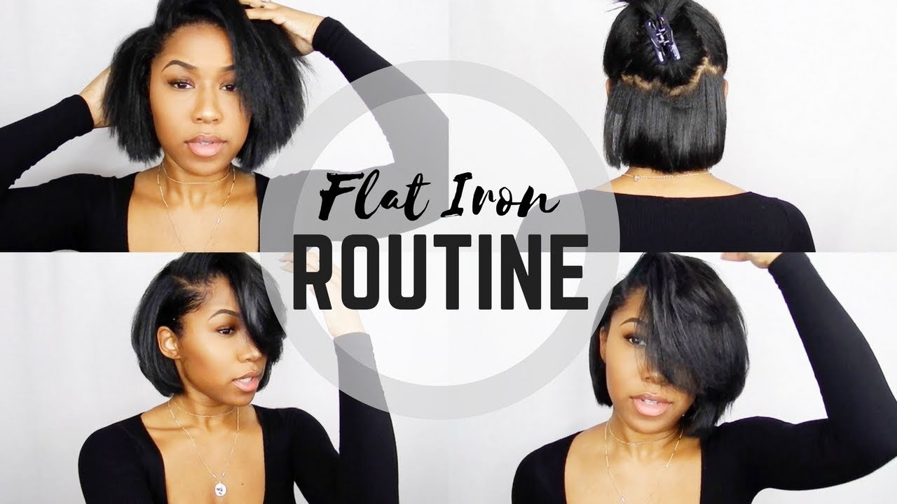 day hair styles flat iron routine bob 7161