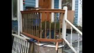 How To Build Wooden Railings For Sloping Front Step Deck