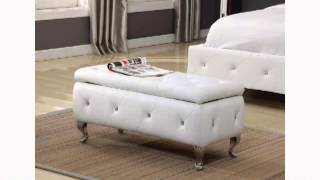 Kings Brand Tufted Design White Upholstered Storage Bench Ottoman