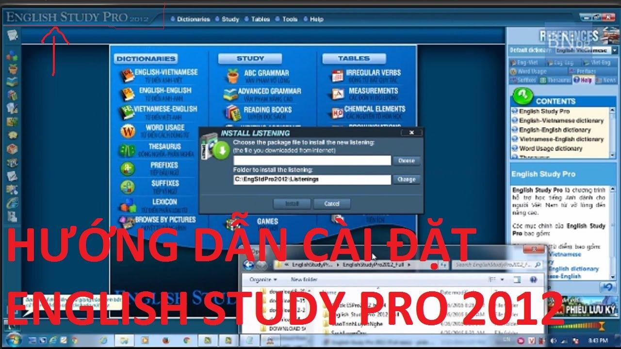 hướng dẫn cài đặt english study pro 2012