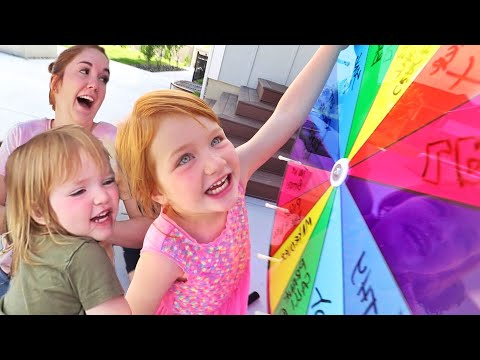 ADLEY SPiN GAME!!  Don't get the wrong one! backyard lava, makeover, and more with Niko Mom & Dad