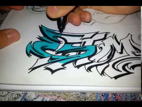 GTM) graffiti sketch coloring with Prismacolor markers - YouTube