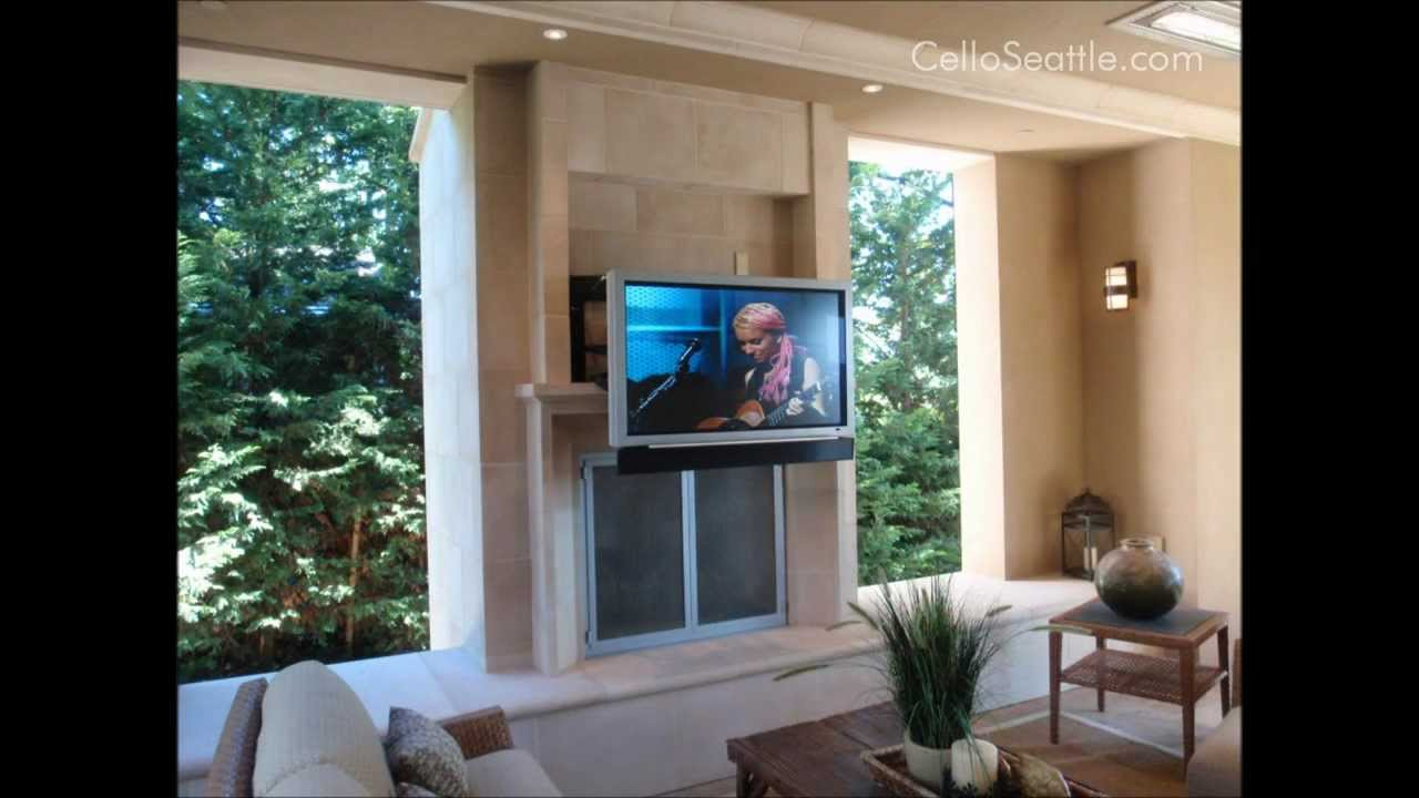 Cello designed this mount to allow for proper viewing height in an outdoor barbeque area