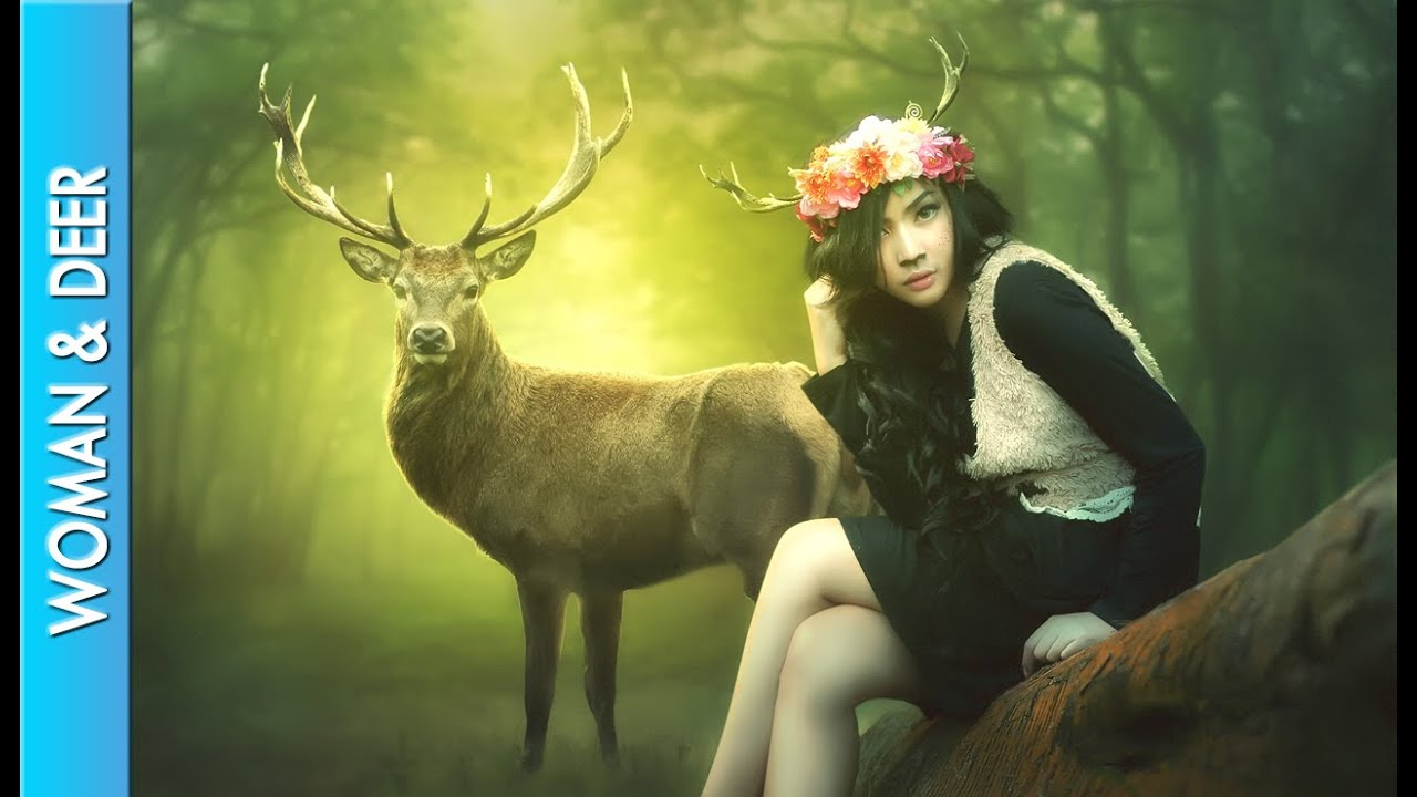 photoshop manipulation effect - woman  u0026 deer - photoshop cs6