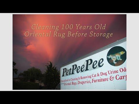 Cleaning 100 Years Old Oriental rug before storage