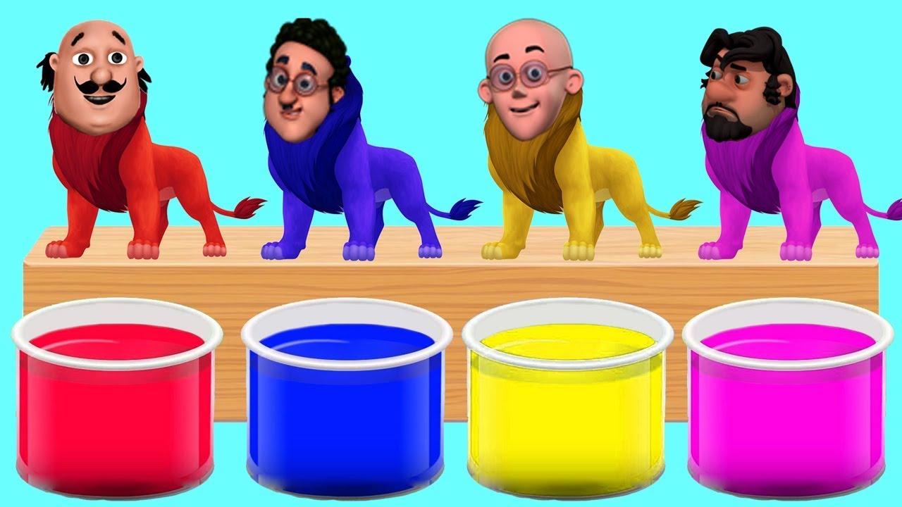 Motu Patlu Head Lion Bathing Colors Fun Colors For Children To