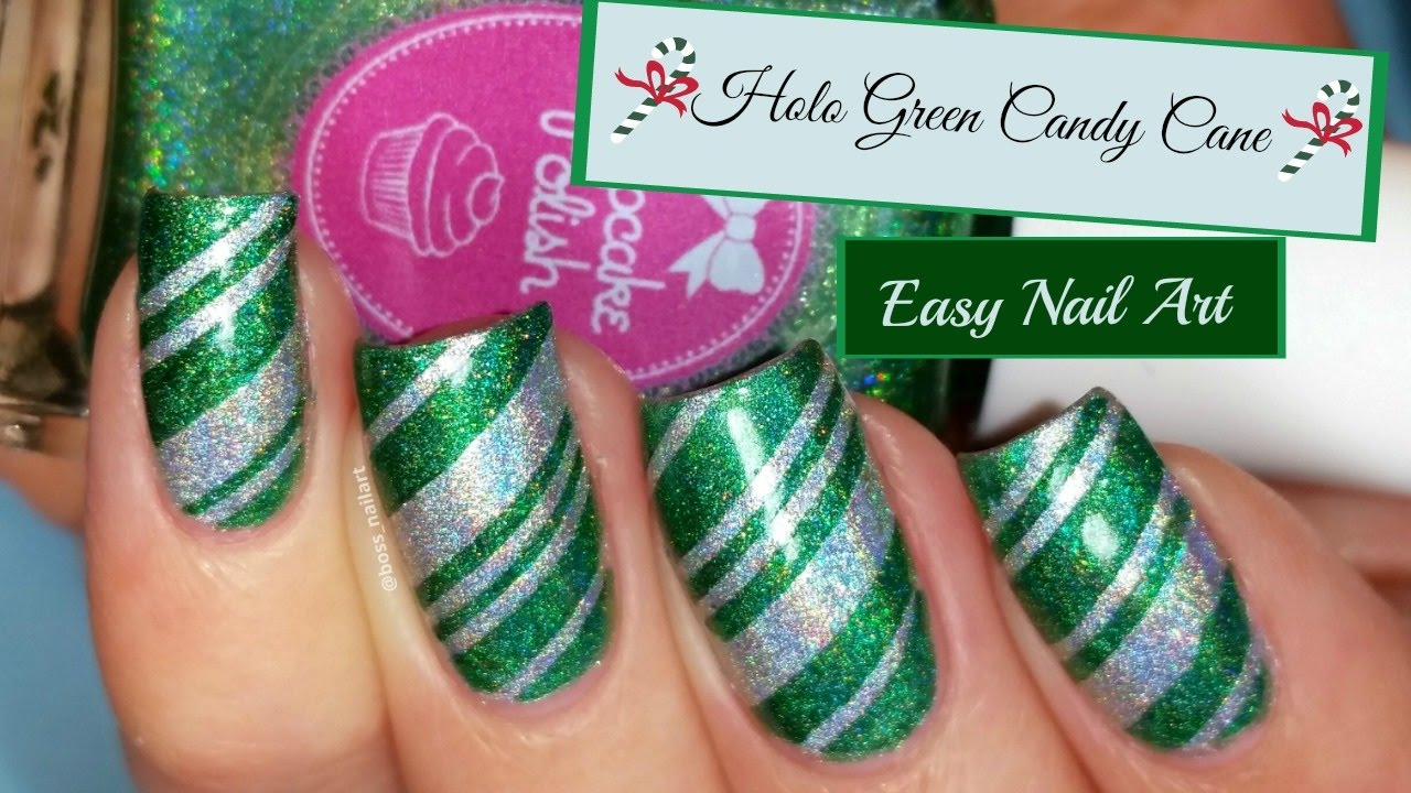 easy green holo candy cane nails