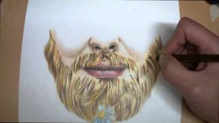 How to draw Ginger Beard using coloured pencils