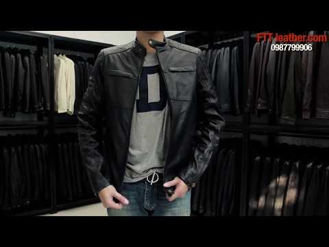 Áo Da Biker Jacket Dành Cho Nam, áo Da Thật Màu đen