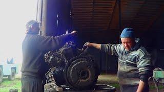 47-Д.(3д ремонта ЯМЗ-236 на Т-150К) установка сцепления и двигателя