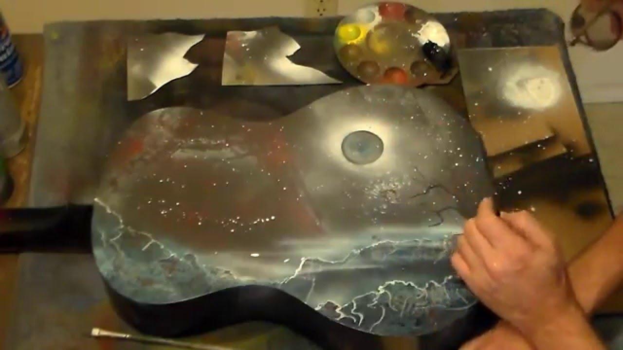 Acoustic Guitar spray paint art X6-spray cap-plastic wrap ...