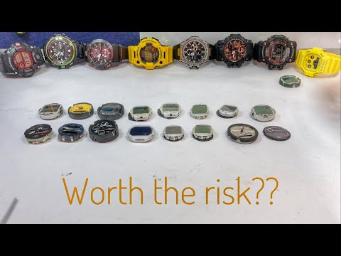 19 pieces of JUNK G-Shock watches (part 2) - How to Clean & Battery swap