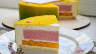 🍰Летний муссовый торт.🍑Персик - 🍓клубника ( English Subtitles ) - Я - ТОРТодел!