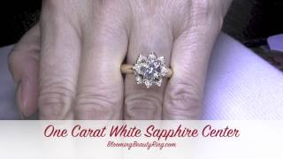 Yellow Gold White Sapphire Engagement Ring