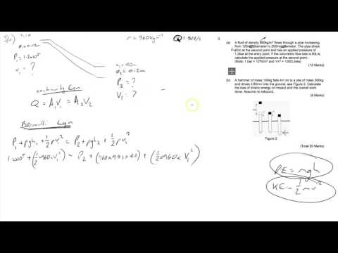 Mechanical Engineering HNC Exam 2017 Q3 (Fluids, Bernoulli, Energy, Momentum)