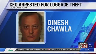 ceo arrested for stealing luggage