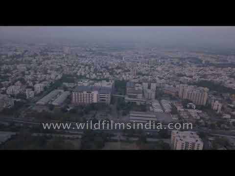 Gujarat city filmed from the air - guess which one - modern day Ahmedabad or Vadodara?