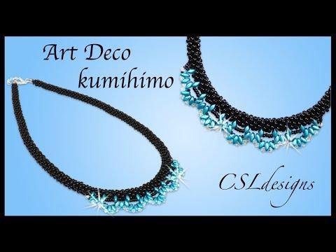 Art Deco beaded kumihimo necklace