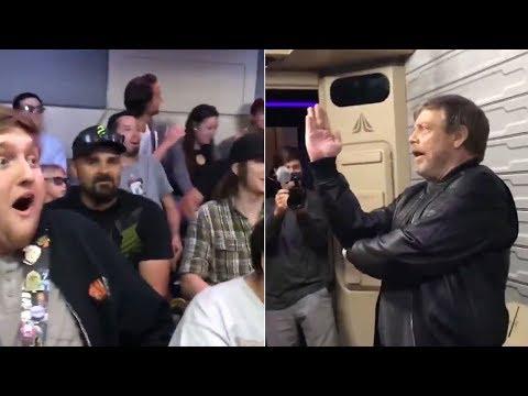 Download Youtube: Mark Hamill surprises fans on 'Star Wars' ride at Disneyland