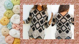 Узор крючком для туники - Crochet pattern for tunic