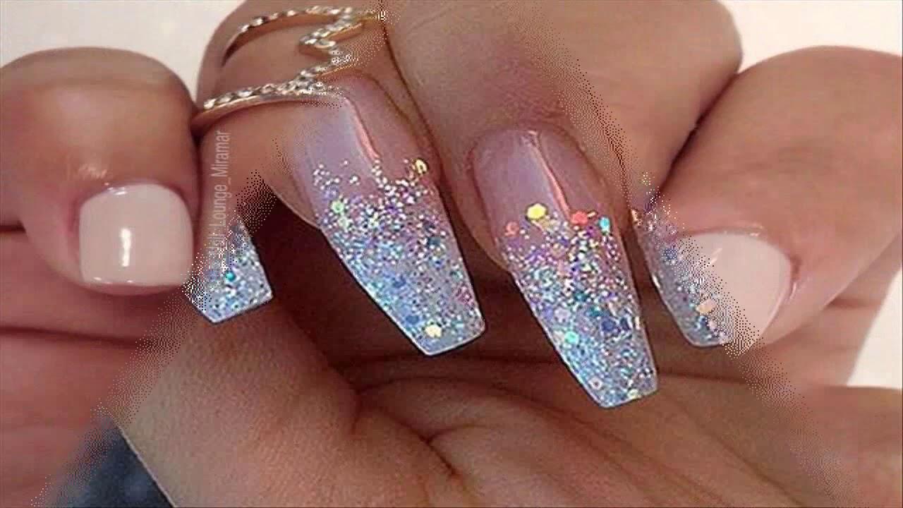 La mejores uñas decoradas con escarcha dorada - YouTube