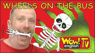 Wheels on the Bus Halloween Party from Steve and Maggie Finger Family for Kids | Wow English TV