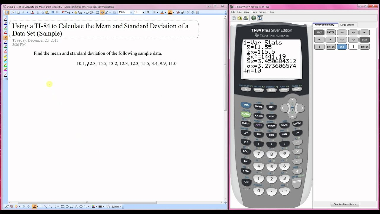 Using A Ti 84 To Calculate The Mean And Standard Deviation Of A Data Set Sample Youtube