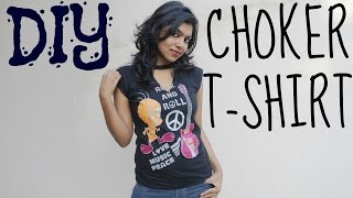 DIY Choker Top | Refashion Old T-Shirt To Summer Top (NO SEW) | Adity Iyer