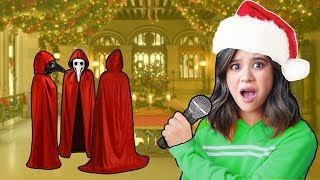 ESCAPED HACKER CHRISTMAS PARTY with our singing VOICE REVEAL (we accidentally made a music video!!)