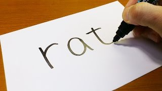 Very Easy ! How to turn words RAT into a Cartoon - art on paper for kids