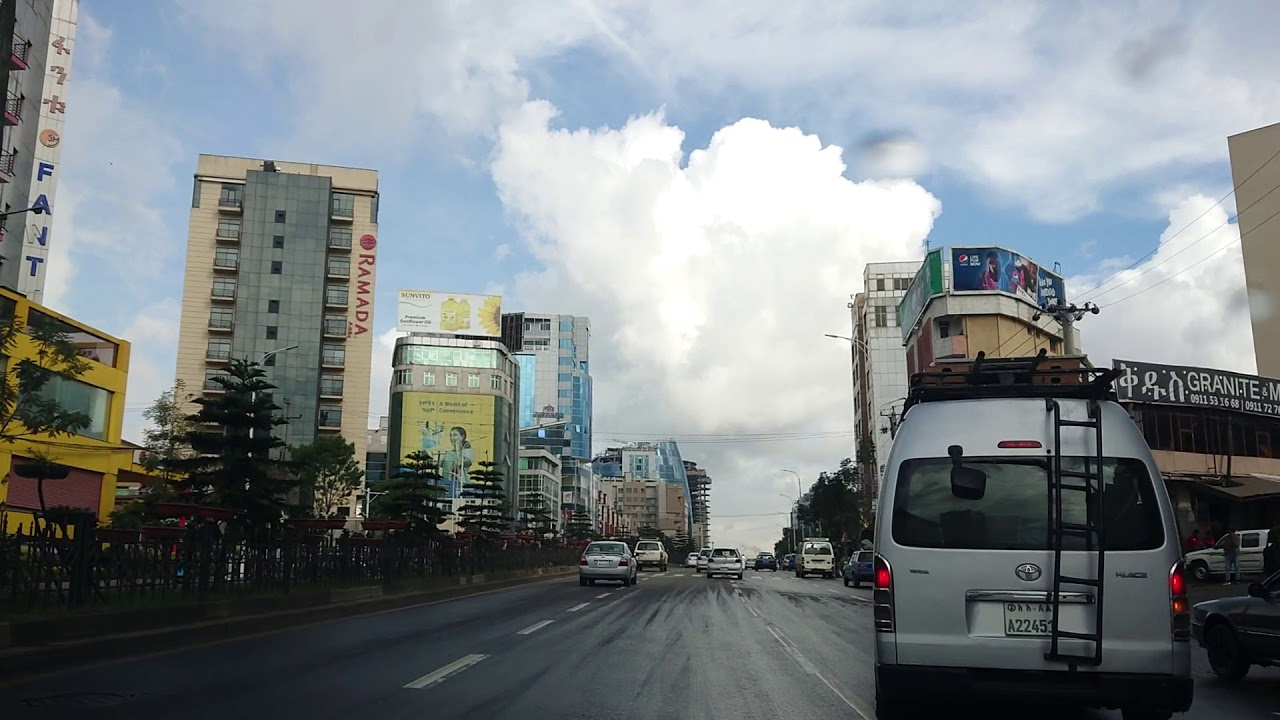 Driving - From  Hotel to BOLE international Airport  Addis Ababa Ethiopia - 2019, November 24