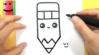 HOW TO DRAW A CUTE PENCIL OF PAPER