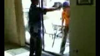 Head smash through glass plate