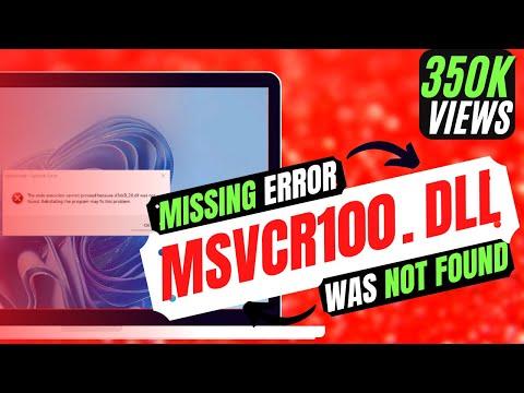 ✓✓✓ How To Fix msvcr100.dll Missing Error Windows 10/8.1/7