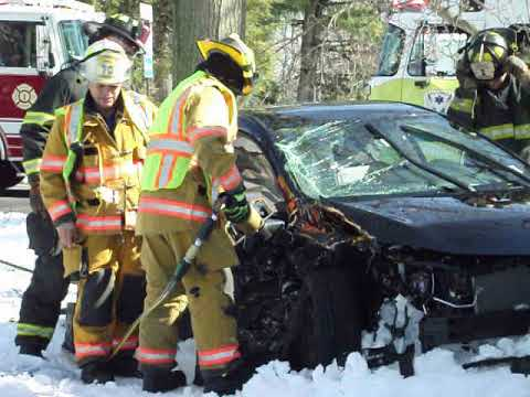 Members of the Paramus Rescue Squad extricated a trapped occupant following a two-car crash Sunday afternoon.