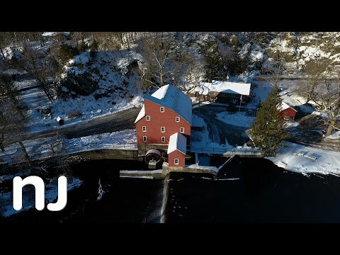 Drone view of Historic Clinton covered in snow