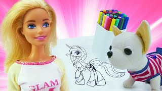 Весёлые видео Челленджи – Кукла Барби и собачка ЧиЧиЛав – Играем и рисуем с детьми
