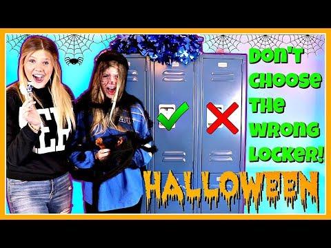 DONT CHOOSE THE WRONG LOCKER CHALLENGE HALLOWEEN || Taylor & Vanessa