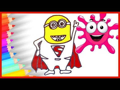HOW TO DRAW Minion Superman Coloring Pages for Kids 🔴 Fun Rainbow