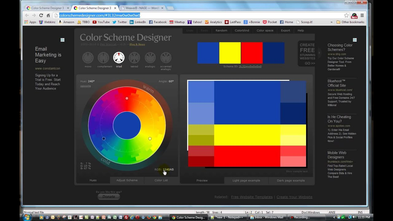 Using Color Scheme Designer To Find Website Colors