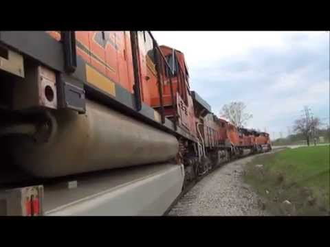 BNSF tour with three SD70ACe's and one BNSF ES44Ac  PLUS SD70ACe IDLE
