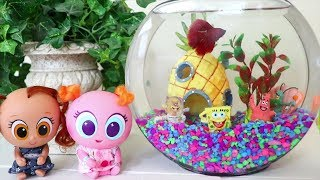 Babies and Toddlers Get a Real Fish ! Toys and Dolls Fun Pretend Play for Kids | SWTAD