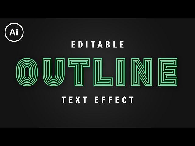 Editable Outline Stroke Text Effect | Illustrator CC Tutorial