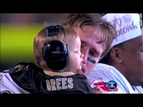 Drew Brees and son Baylen after winning SuperBowl XLIV
