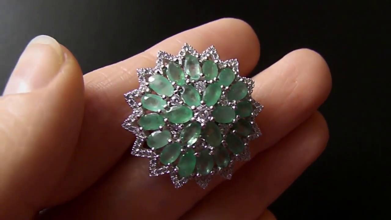Серебряное кольцо с рубином, сапфиром и изумрудом 113002 - YouTube