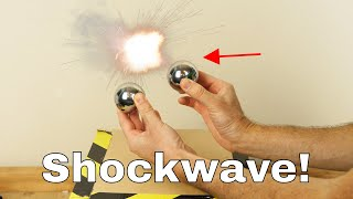 Making a Shockwave by Hitting Two Huge Steel Ball Bearings Together!