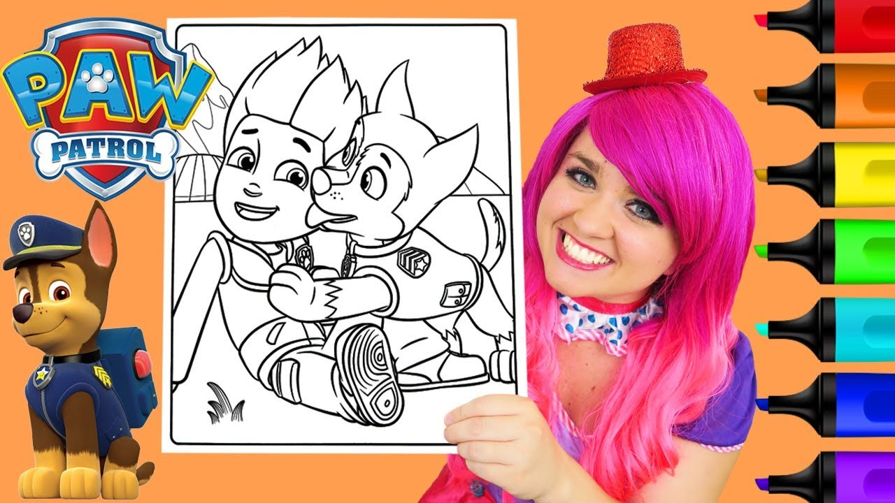 coloring paw patrol chase ryder coloring book page prismacolor colored markers kimmi the clown