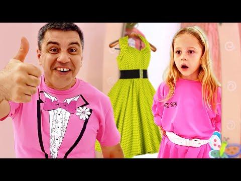 Настя и папа учатся делать сами платья для вечеринки Полезное видео для детей