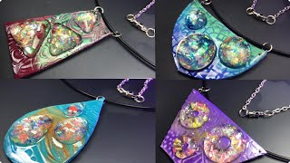 4 AMAZING NECKLACE PENDANTS MADE FROM POLYMER  CLAY AND EPOXY RESIN