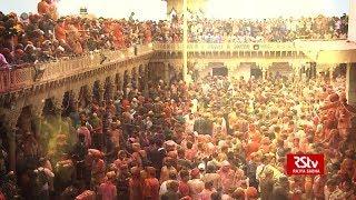 Holi celebrations at Bankey Bihari temple in Vrindavan thumbnail